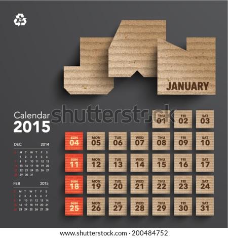 Vector 2015 Cardboard Calendar Design - January - stock vector