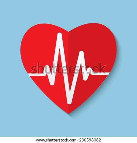 Vector cardiogram or heart rhythm medical flat icon. Eps 10. - stock vector