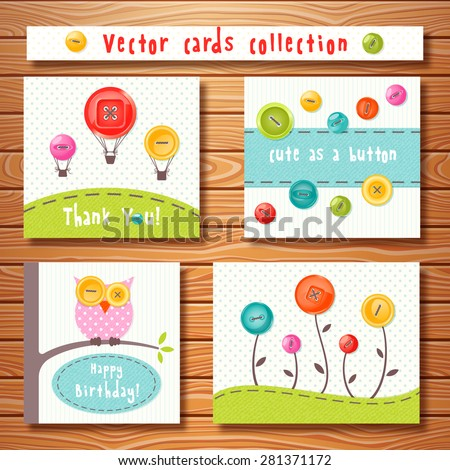 Vector cards collection with cute colorful buttons on wooden background. Perfect for baby shower, birthday and other events. - stock vector
