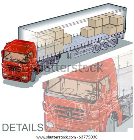 Vector cargo semi-truck infographics cutaway - stock vector