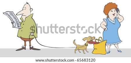 Vector caricature. Funny scene in the street: read a man does not notice how his dog stealing sausages from a woman in conversation - stock vector