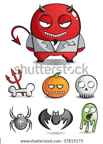 Vector caricatures of monsters for a holiday Halloween