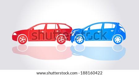 Vector Cars Crash - Road Accident - stock vector