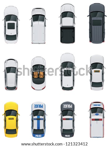 Vector cars icon set. From above view. Includes sedan, commercial van, truck, wagon, cabrio, sport car, hatchback, taxi, police and ambulance vehicles - stock vector
