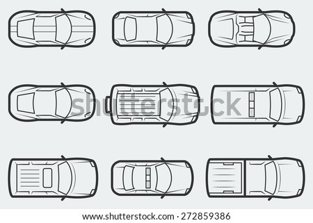 Vector cars in outline style, top view - stock vector