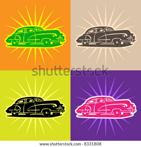 Vector cars - retro - stock vector