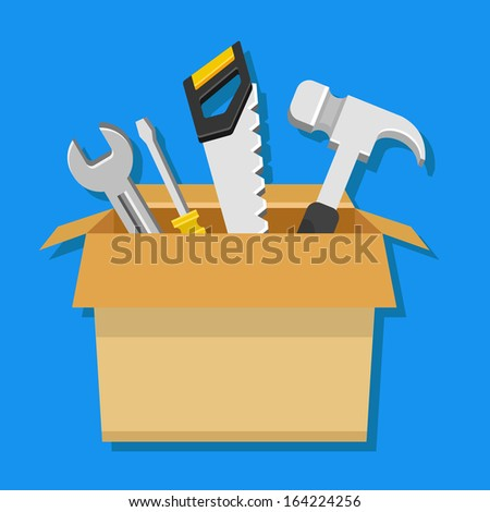 Vector Carton Box with Working Tools Icon - stock vector