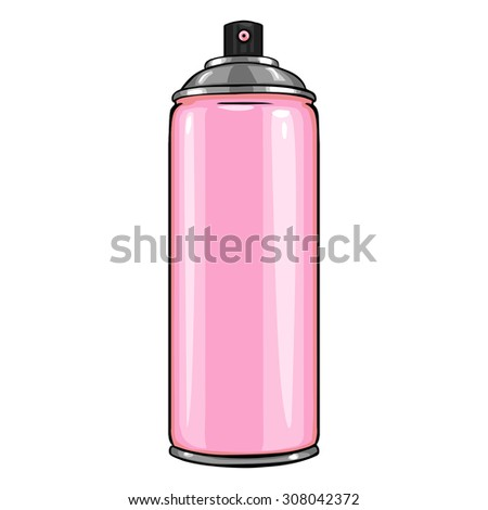 Vector Cartoon Aerosol Spray with Pink Paint - stock vector