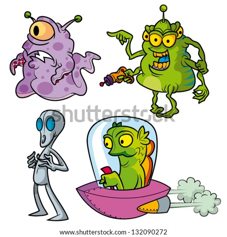 Vector cartoon aliens