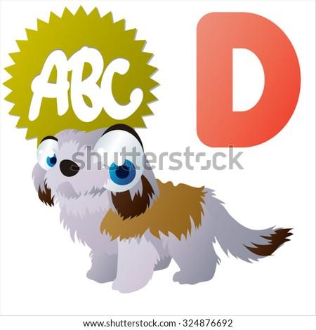 vector cartoon animals ABC: D is for Dog - stock vector