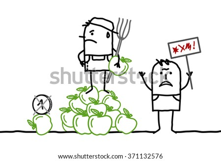 vector cartoon apple producers protesting against agriculture business - stock vector