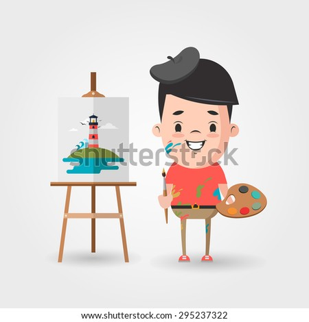 Vector Cartoon Artist and the Easel