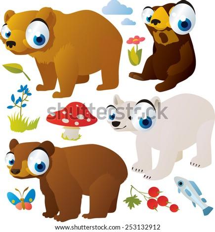 vector cartoon bears set: sunbear, brown bear, polar bear, grizzly bear - stock vector