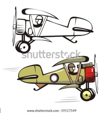Vector cartoon biplane. More cartoon airplanes illustrations see in my portfolio - stock vector