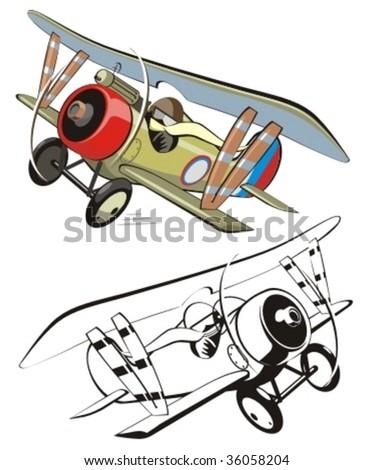 Vector cartoon biplane. More vector airplanes see in my portfolio. - stock vector