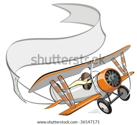 Vector cartoon biplane with banner. More vector airplanes see in my portfolio - stock vector