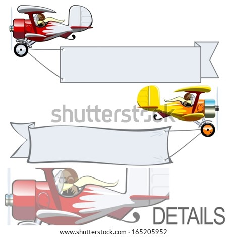 Vector Cartoon Biplane with Bunner - stock vector