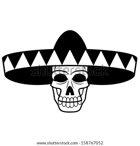 Vector Cartoon Black And White Skull With Mariachi Hat - stock vector