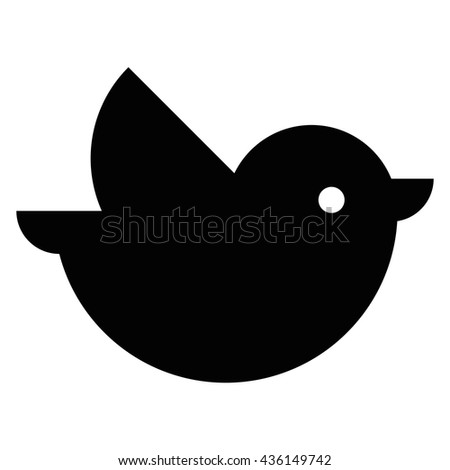 Vector Cartoon Black Bird Flying Icon Isolated  - stock vector