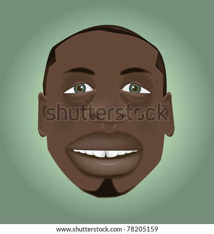 vector cartoon black man character caricature for animation - stock vector