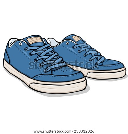 Vector Cartoon Blue Skaters Shoes - stock vector