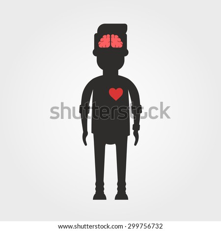 Vector Cartoon Body Silhouette with Visible Brain and Heart  - stock vector