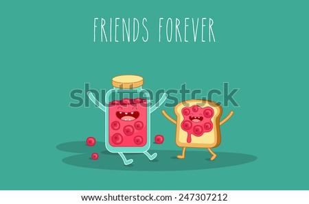 Vector cartoon. Breakfast. Friends forever. Jam and toast - stock vector
