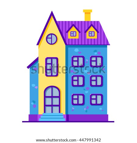 Vector cartoon bright blue and yellow house. Cute building. Child town illustration. Your sweet home. - stock vector