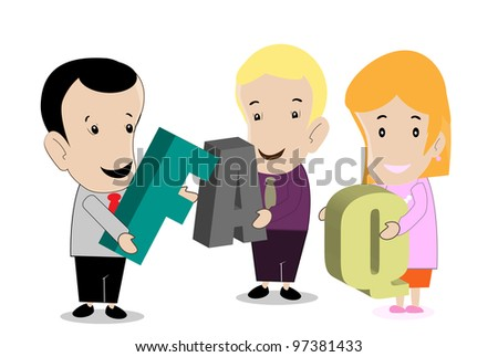 vector cartoon business people holding signs asking friendly questions - stock vector