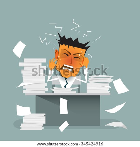 Vector cartoon businessman busy ( strain, burnout ) sitting at office desk. On office table with document -  paper pile of work. Concept for stress or tension, overworked, depressed and exhausted   - stock vector