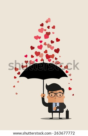 Vector Cartoon Businessman with Umbrella Under the Rain of Hearts - stock vector