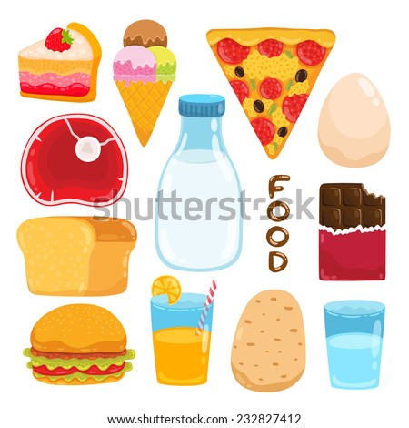vector cartoon cake, ice cream, pizza,egg, meat, milk, chocolate, orange juice, bread, hamburger, potato, water - food illustration set - stock vector