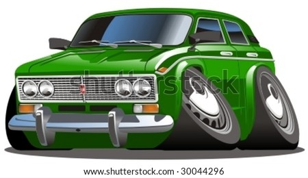 Vector cartoon car. More vector muscle cars see in my portfolio. - stock vector
