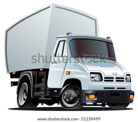 vector cartoon cargo truck - stock vector