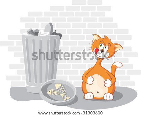 Vector cartoon cat with wastebasket and fish bones on brick wall background.