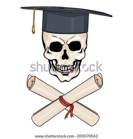 Vector Cartoon Character - Academic Skull and Crossed Scrolls