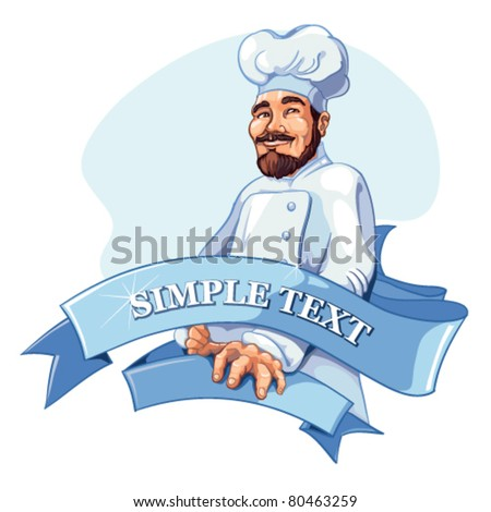 Vector cartoon character of cheerful cook with beard and in white uniform. Logo template isolate on white background with place for your text. - stock vector
