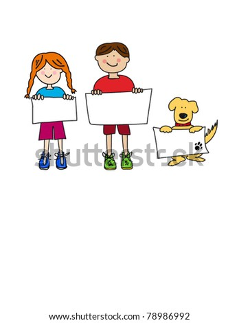 Vector cartoon characters: simple childlike black line drawings of two smiling kids and their dog holding up blank signs or placards. Raster version: 78473521 - stock vector