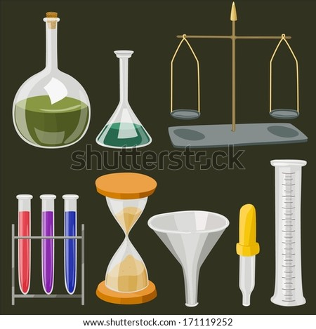 Vector cartoon chemistry laboratory objects in flat colors - stock vector