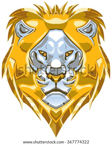 Vector cartoon clip art illustration of a polished shiny metallic gold and silver or chrome lion head ornament.