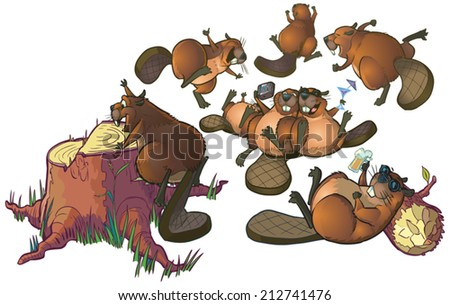 Vector Cartoon Clip Art of a group of cute beavers having a party or celebrating. The file is organized into layers for easy editing. - stock vector