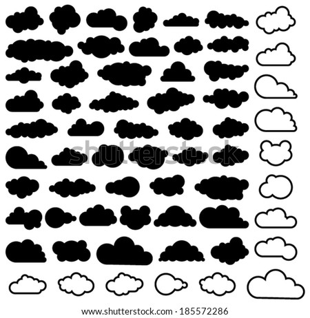 vector cartoon collection of sky clouds, black and white - stock vector