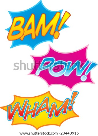 vector cartoon comic book sound effects: bam! pow! and wham! - stock vector
