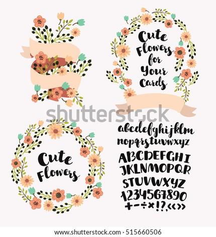 Vector cartoon cut elements set of wreath, flowers, floral elements ...