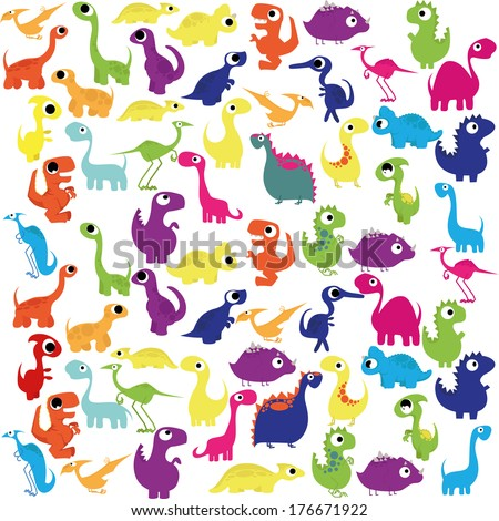 Vector Cartoon Cute And Colorful Group Of Dinosaurs - stock vector