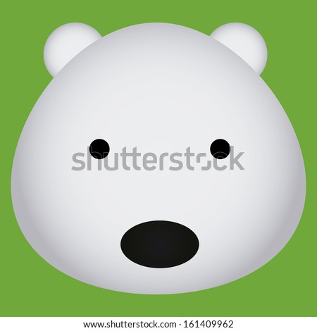 Vector Cartoon Cute Polar Bear Face Isolated