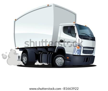 vector cartoon delivery / cargo truck - stock vector