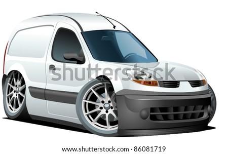 Vector cartoon delivery van - stock vector
