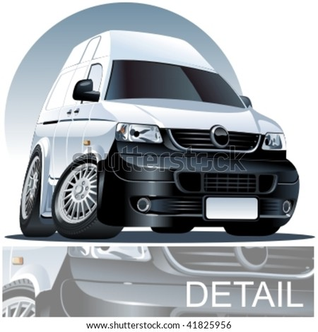Vector cartoon delivery van. More vector muscle cars cee in my portfolio - stock vector