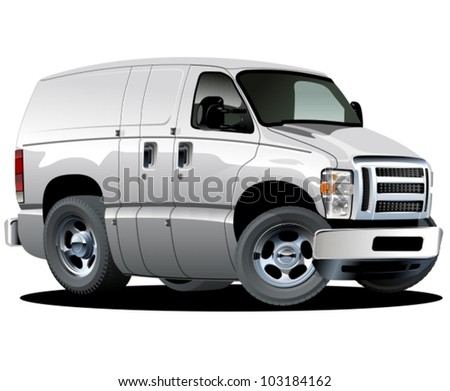Vector cartoon delivery van. One click repaint option - stock vector